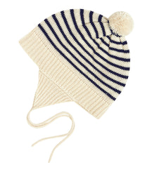 FUB baby hat with pom pom in ecru and navy stripes