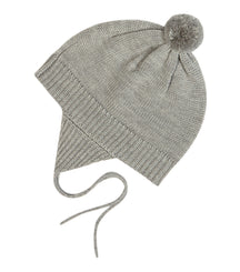 FUB baby hat in light grey with pom pom