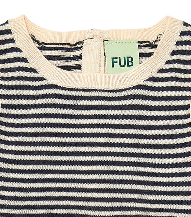 FUB baby romper in navy and ecru