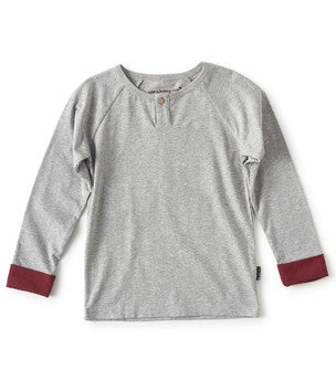 Little Label long sleeve Henley t-shirt in grey melange