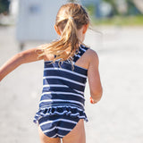 Petit Crabe bikini pants Zoe in navy blue and white stripes