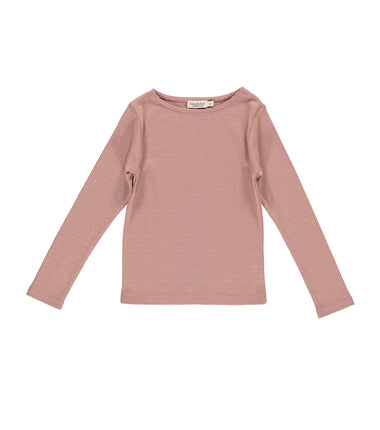 MarMar Copenhagen long sleeve t-shirt Theodora in pink with thin gold stripes