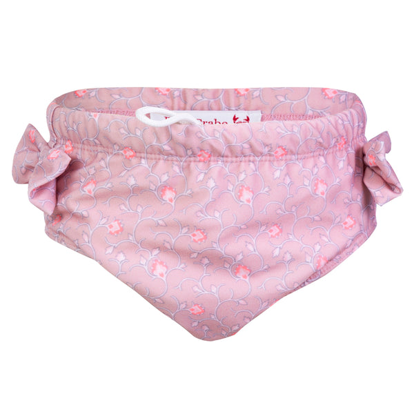 Petit Crabe swimming nappies for babies with loop in the side seam in floral soft rose