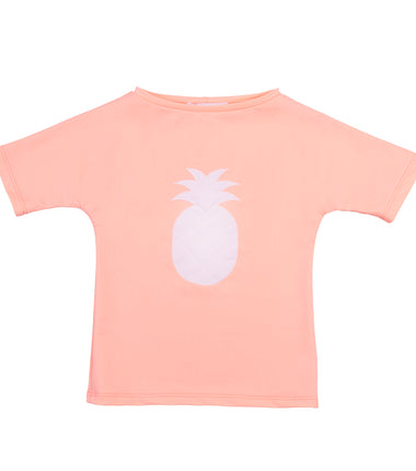 Petit Crabe boat neck short sleeve swim shirt in peach