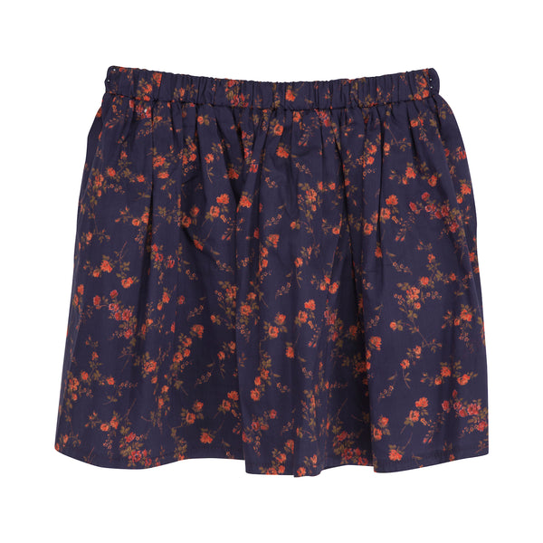 Christina Rohde liberty print skirt in navy and red
