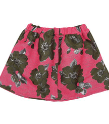 Christina Rohde party skirt in glitter pink with army green flowers