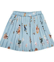 Christina Rohde pleated skirt in light blue flower print