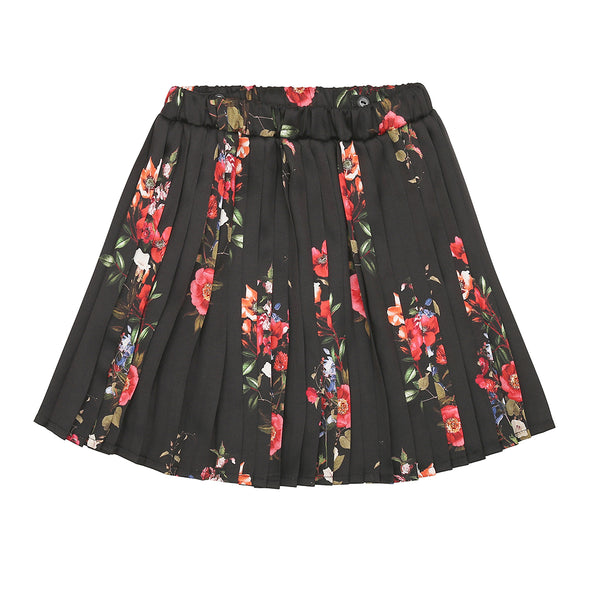 Christina Rohde pleated skirt in black flower print