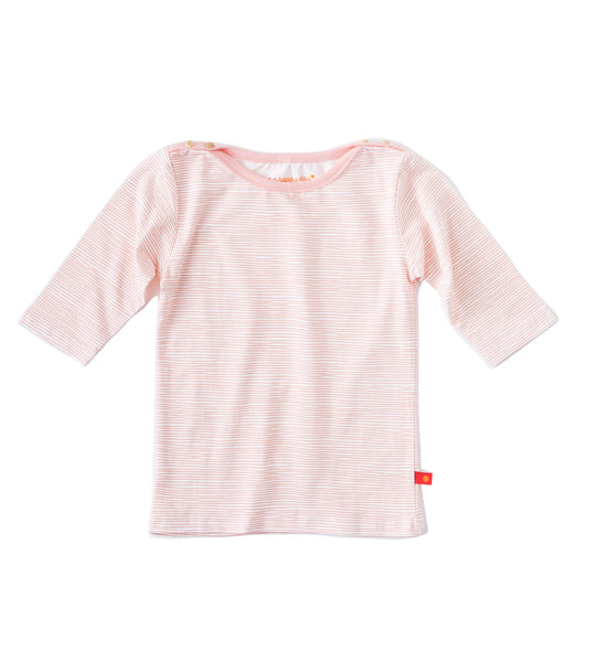 Little Label boatneck t-shirt in orange pink stripes