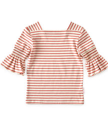 Little Label girls fancy t-shirt with trumpet sleeves in stripes