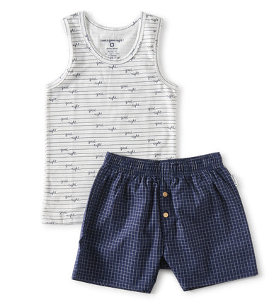 Little Label boys summer pj set with blue checkered shorts