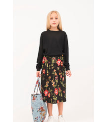 Christina Rohde skirt in midi length with black flower print
