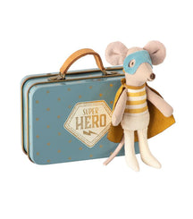 Maileg Superhero mouse in a suitcase