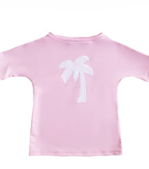 Petit Crabe boat neck short sleeve swim shirt in ballerina pink