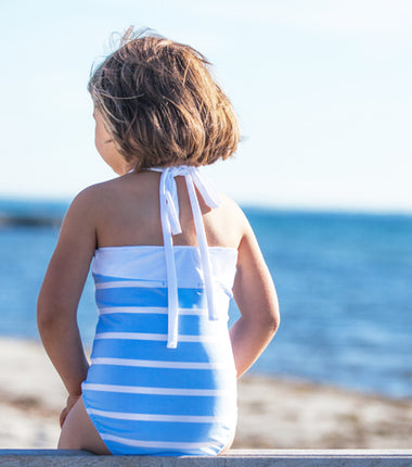 Petit Crabe swimsuit with a tieband in the neck in light blue and white stripes