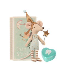 Maileg Dream and Tooth Fairy with pj's with a blue tin