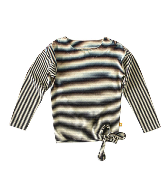 Little Label girls knotted long sleeve shirt with black and ecru stripes