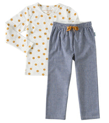 Little Label girls pyjama set with blue checkered print