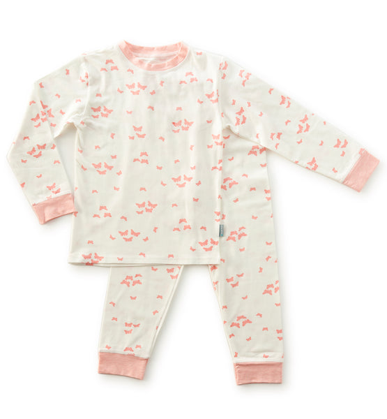 Little Label pyjama with butterfly print in off white pink
