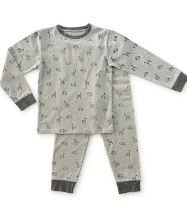 Little Label pyjama with animal print in grey