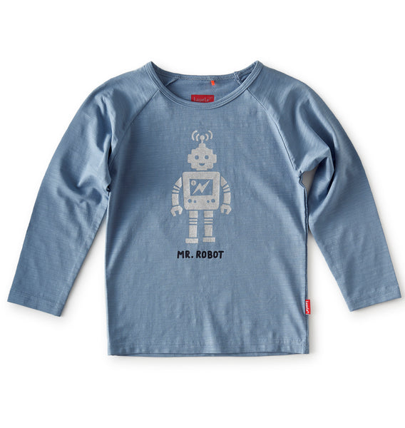 Little Label long sleeve t-shirt Robot in grey blue