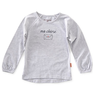 Little Label long sleeve t-shirt Ma Cherie in grey melange