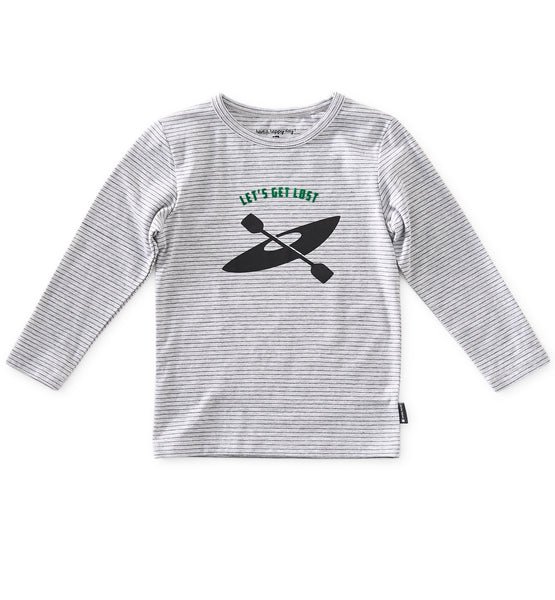 Little Label long sleeve t-shirt Let's get lost in melange grey stripes