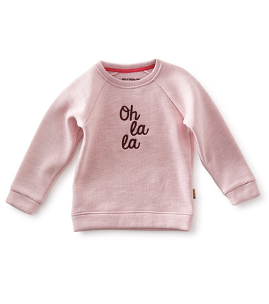 Little Label sweater Oh La La in violet pink