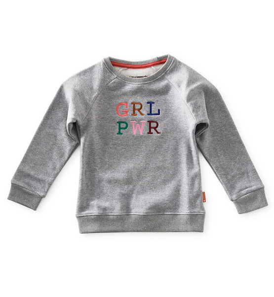 Little Label sweater GIRL POWER in melange grey