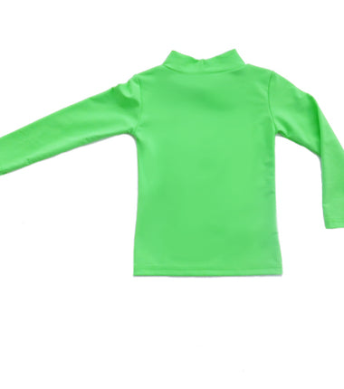Petit Crabe turtleneck swim shirt in apple green