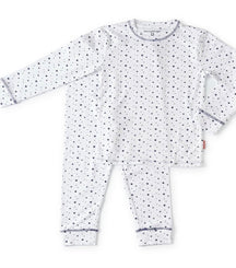Little Label pyjama with blue stars and hearts in white