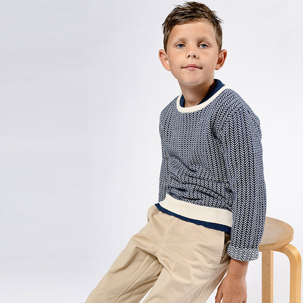 Ebbe knitted sweater Matteus in blue and white fishbone