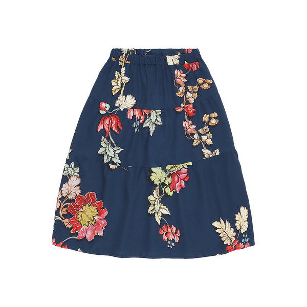 Christina Rohde maxi skirt with navy blue print