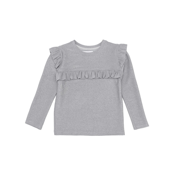 Christina Rohde long sleeve top in sparkly silver