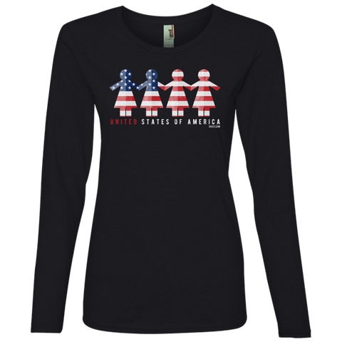 Ladies' Lightweight LS T-Shirt - United We Stand