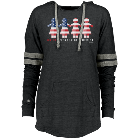 Ladies Hooded Low Key Pullover - United We Stand