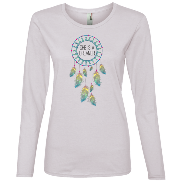Ladies' Lightweight LS T-Shirt - She is a Dreamer