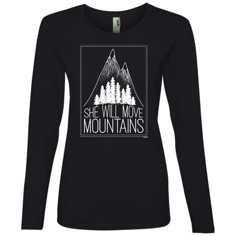 Ladies' Lightweight LS T-Shirt - She Will Move Mountains