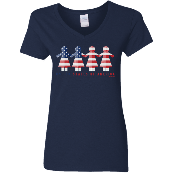 Ladies' V-Neck T-Shirt - United We Stand
