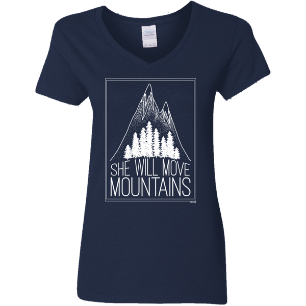 Ladies' V-Neck T-Shirt - She Will Move Mountains