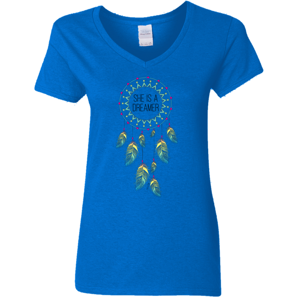 Ladies' V-Neck T-Shirt - She is a Dreamer