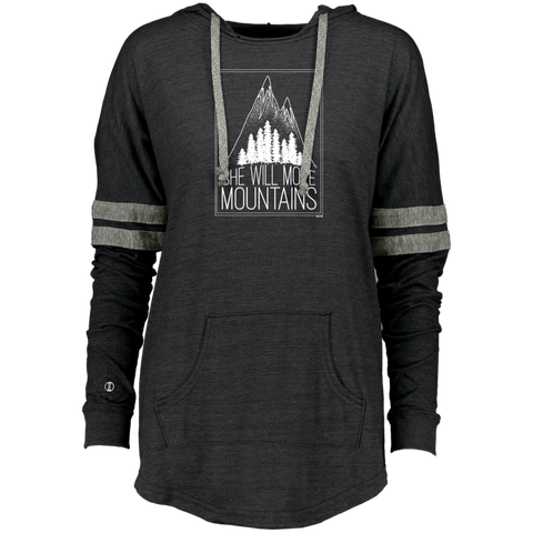 Ladies Hooded Low Key Pullover - She Will Move Mountains