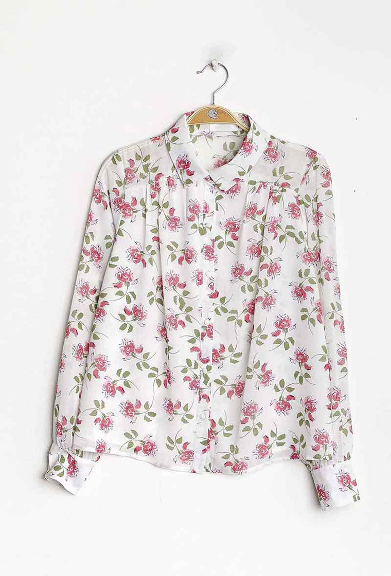 Camicia morbida con rose