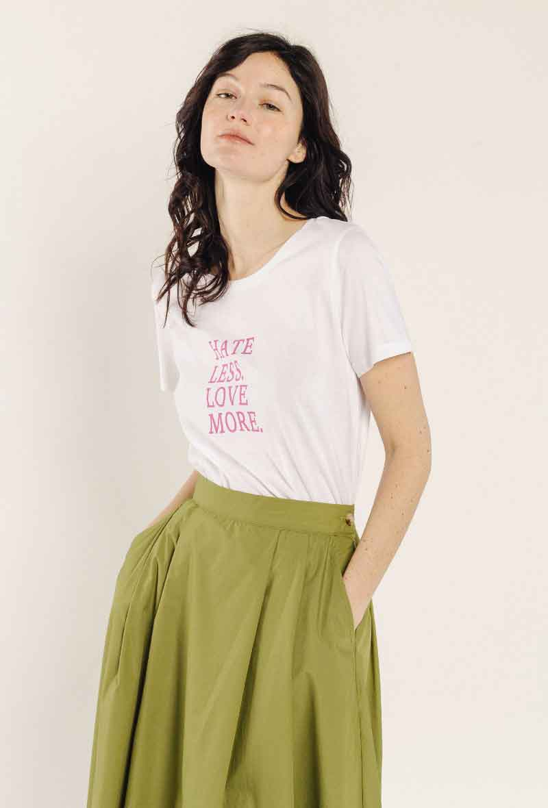 T-shirt 100% cotone Hate Less Love More