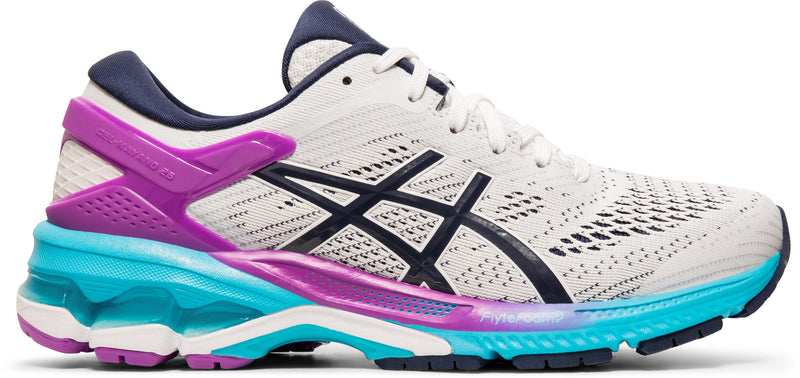 Women's Asics Gel-Kayano 26 White/Peacoat Stability Running Shoes