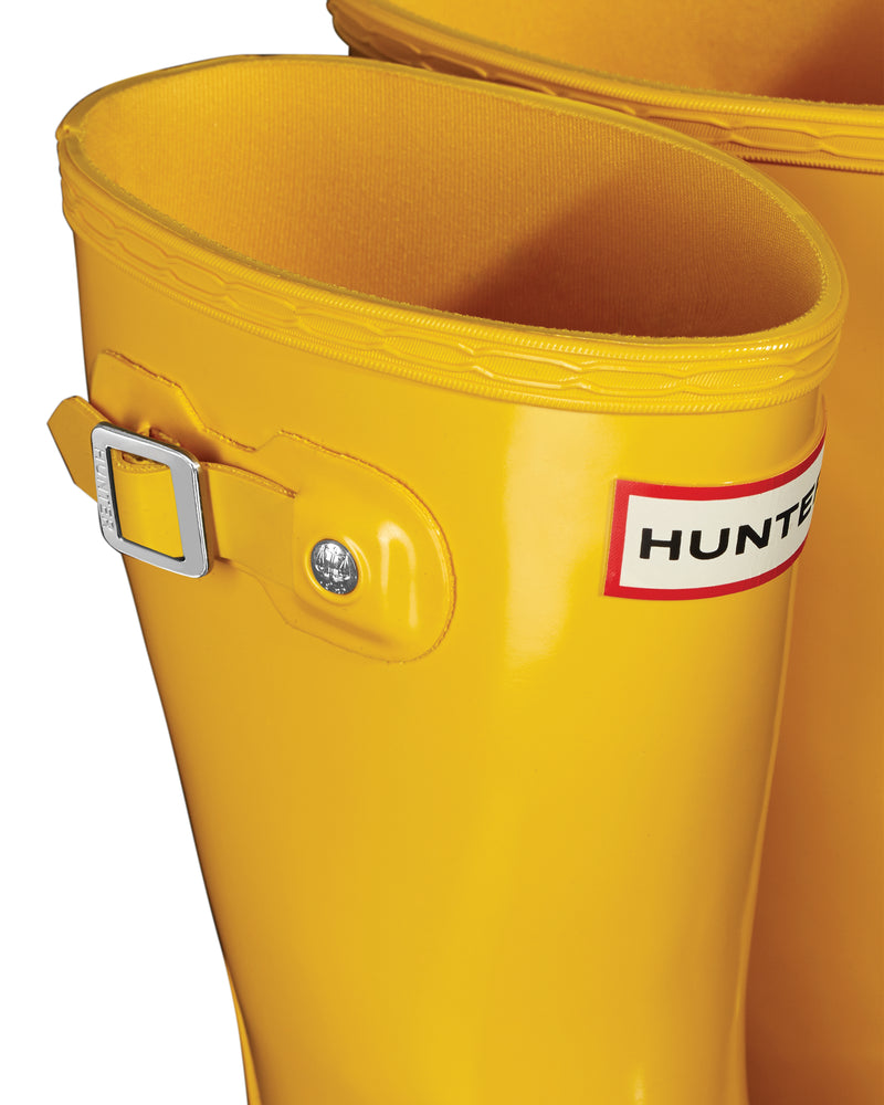 Hunter Original Kids' Gloss Rain Boots Yellow - JFT6000RGLRYL
