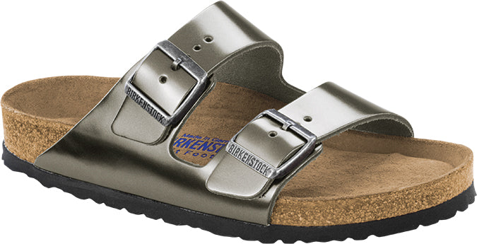 Birkenstock Arizona Natural Leather Metallic Anthracite SOFT FOOTBED NARROW