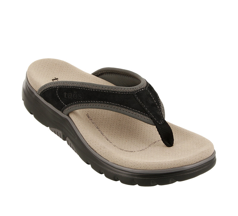 Taos Aura Black Grey Leather Supportive Flip Flops