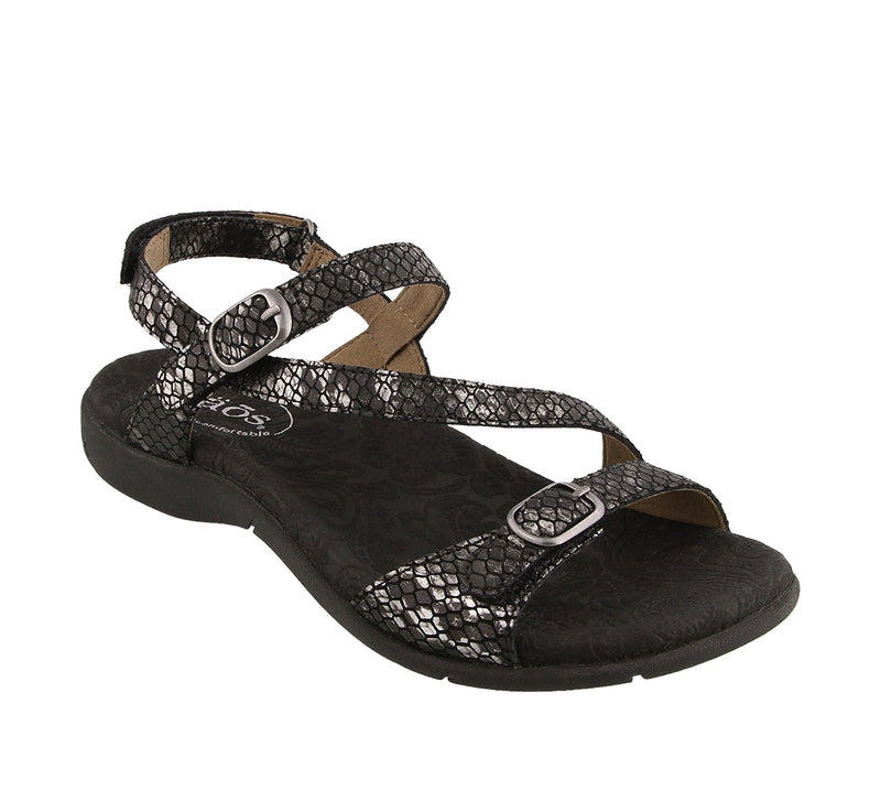 Taos Beauty 2 Black Snake Leather Supportive Sandals