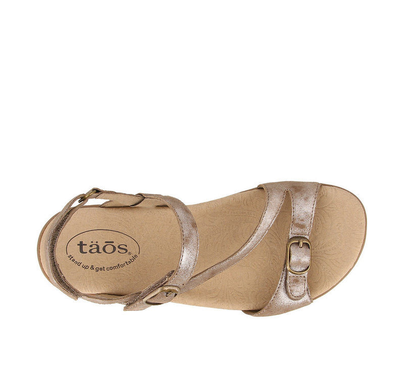 Taos Beauty 2 Taupe Metallic Leather Supportive Sandals